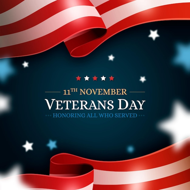 現実的な退役軍人の日のお祝い 無料ベクター