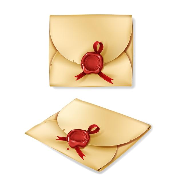 빨간 왁 스 물개를 가진 현실적인 빈티지 봉투 무료 벡터