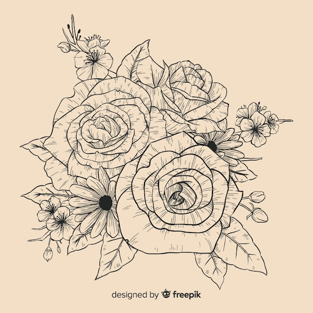 Realistic vintage hand drawn floral bouquet Free Vector
