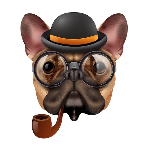 Realistic vintage hipster bulldog Free Vector