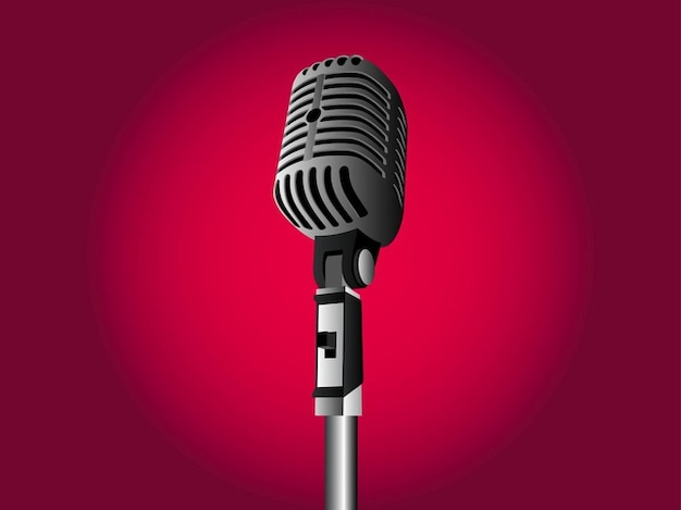 Realistic vintage microphone illustration Vector   Free ...