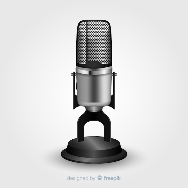 Realistic vintage microphone Free Vector