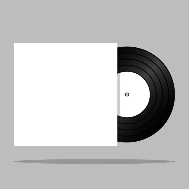 Realistic vintage vinyl record with blank cover isolated Premium Vector