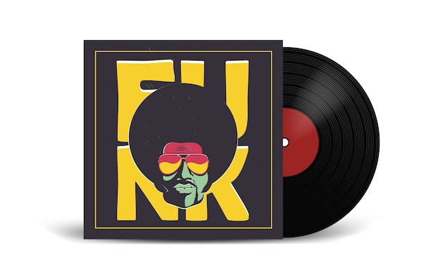 Realistic vinyl record with cover mockup Premium Vector