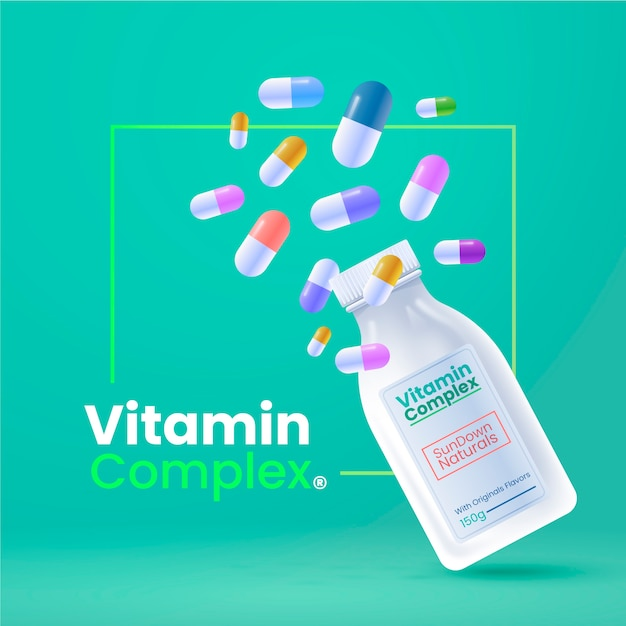 Realistic vitamin complex container Premium Vector