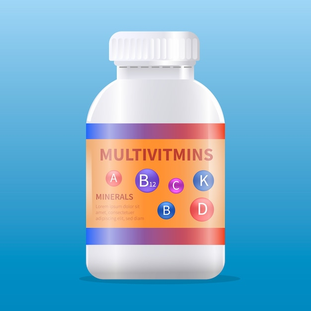 Realistic vitamin complex package Free Vector