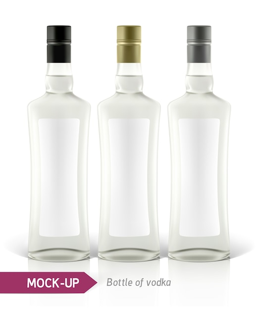 Realistic vodka bottle or other gin bottle.  on a white background with shadow and reflection. Premium Vector