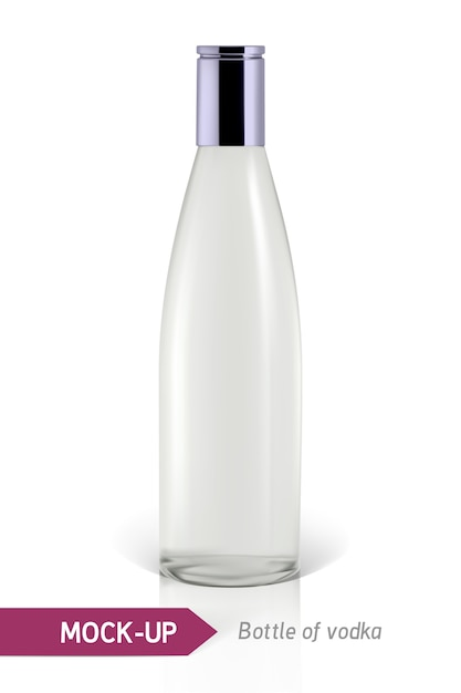 Realistic vodka bottle or other gin bottle Premium Vector