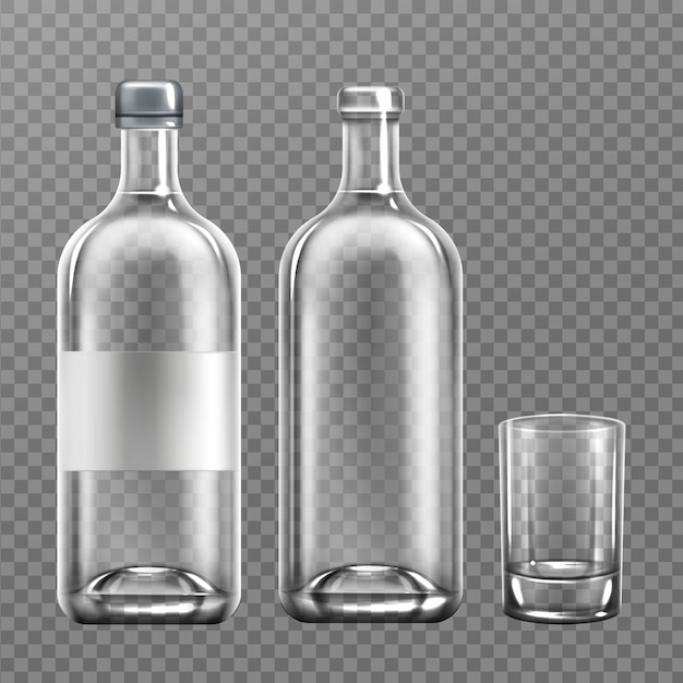 Realistic vodka glass bottle with glass Free Vector