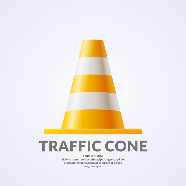 Realistic volumetric traffic cone isolated on light background. Premium Vector