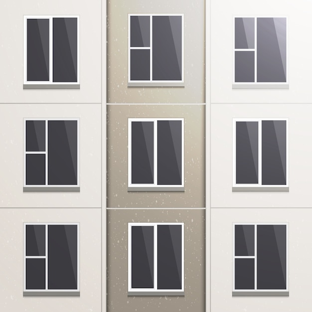 Realistic wall of a multi-storey panel building. Premium Vector