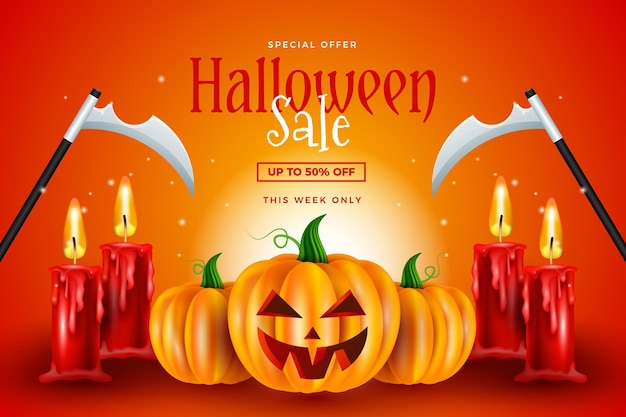 Realistic wallpaper for halloween sale Premium Vector