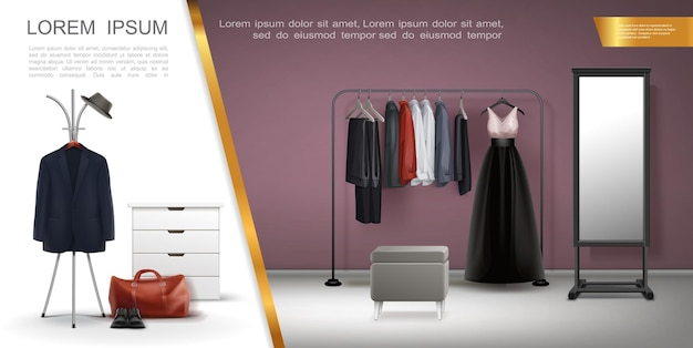 Realistic wardrobe room elements composition with jacket shirts dress trousers on hangers leather sh