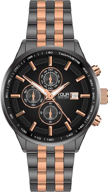 Realistic watch clock chronograph steel grey copper. Premium Vector