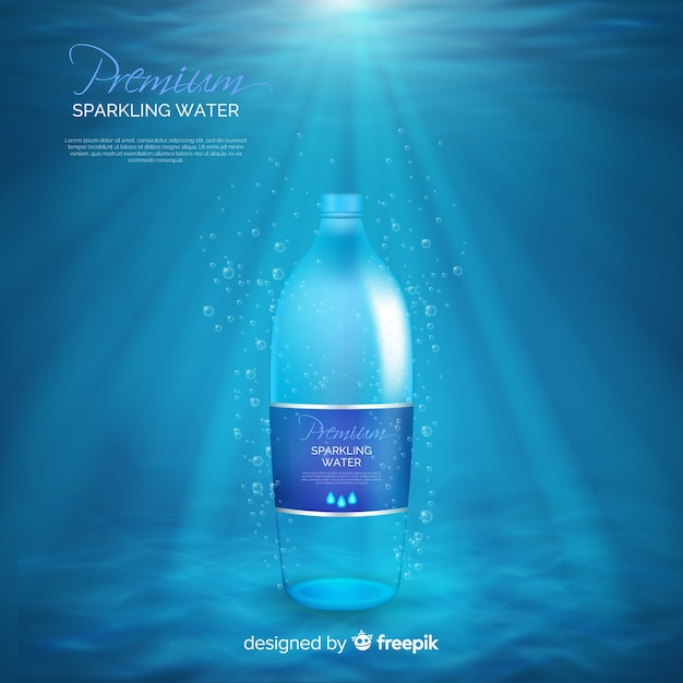 Realistic water bottle ad Free Vector
