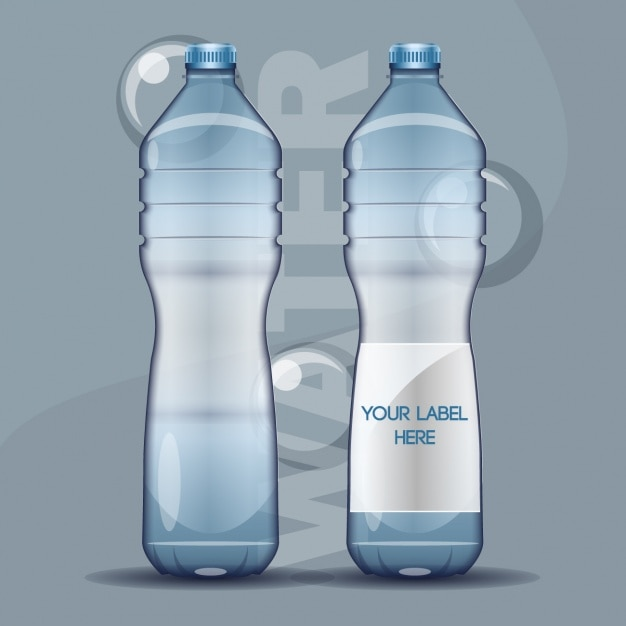 Water Bottle Vector: Realistic Water Bottles With Bubbles Vector