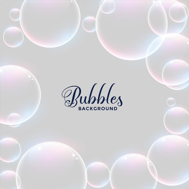 Realistic water bubbles background design Free Vector