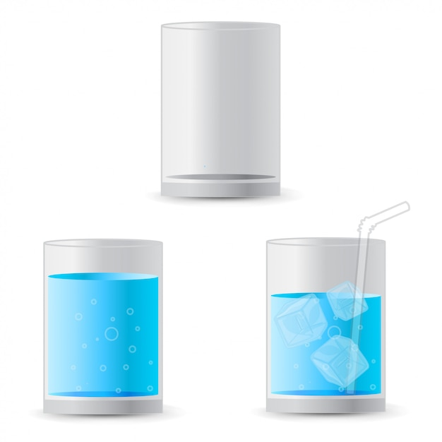 Realistic  water in a glass with ice cubes and a straw Premium Vector