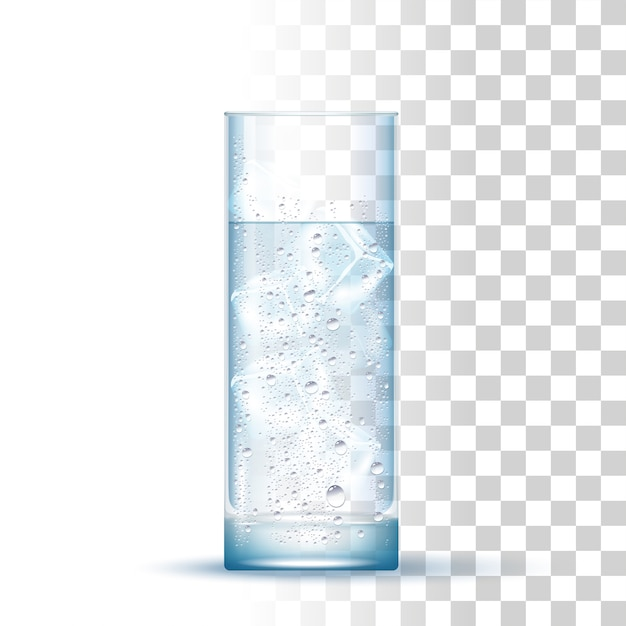 Realistic water glass Premium Vector