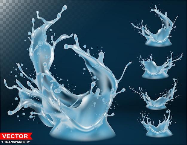 Realistic water splash bursts and crown Premium Vector