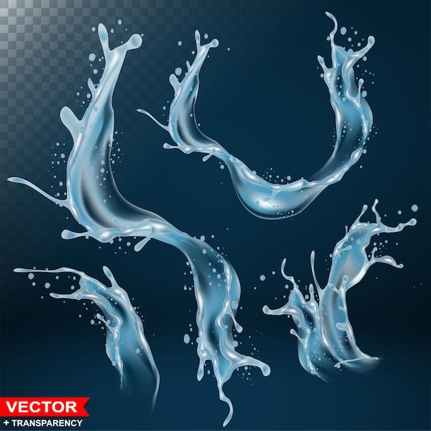 Realistic water splash bursts and wave Premium Vector