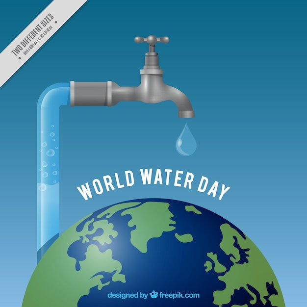 Realistic water world day tap background Free Vector
