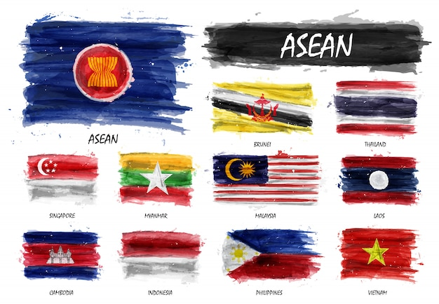 Realistic watercolor painting flag of asean and membership Premium Vector