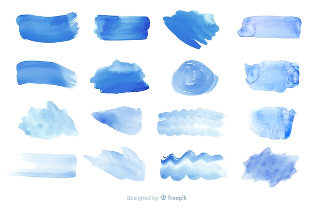 Realistic watercolor trace collection Free Vector