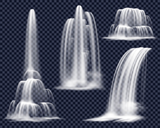 Realistic waterfalls on transparent background set Free Vector