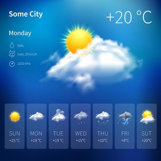 현실적인 날씨 위젯 무료 벡터