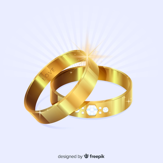 Realistic wedding rings Free Vector