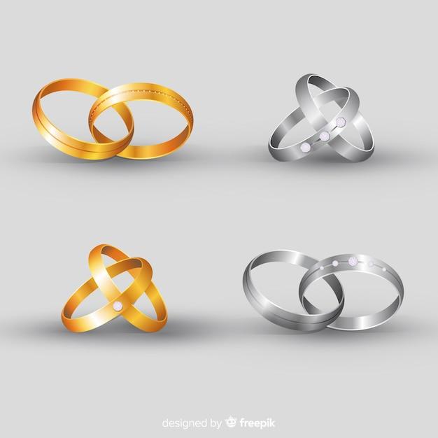Realistic wedding rings Free Vector