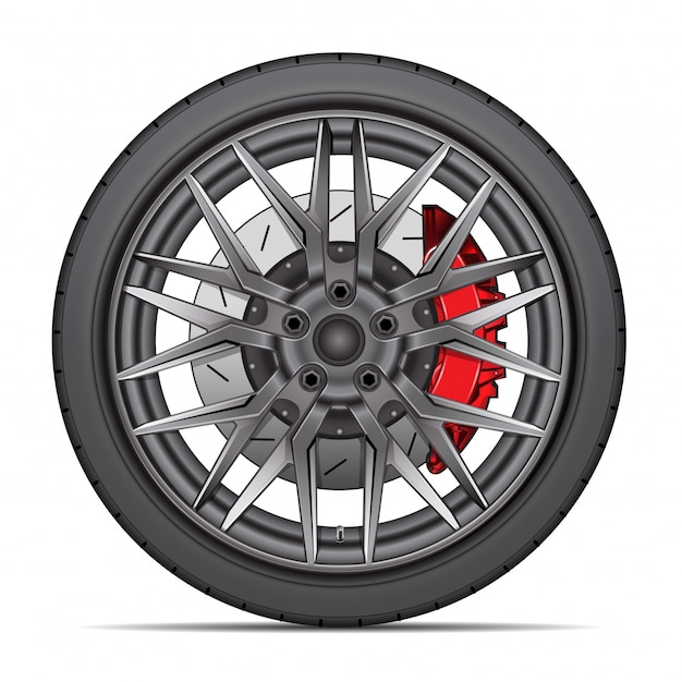 Realistic wheel alloy tire radial break disk white background. Premium Vector