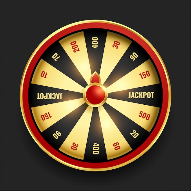 Realistic wheel of fortune in golden color Free Vector