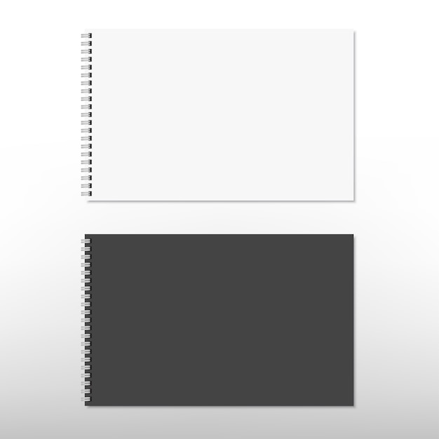 Реалистичный белый и черный спиральный блокнот, изолированный на белом. . Premium векторы