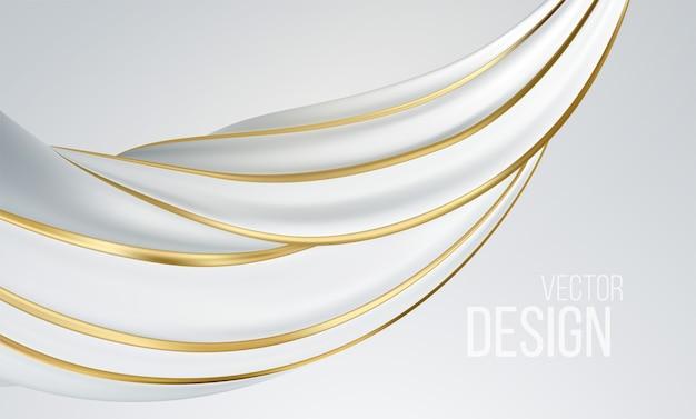 현실적인 흰색과 금색 소용돌이 모양 흰색 배경에 고립. 프리미엄 벡터