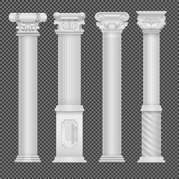 Realistic white antique roman column isolated on transparent Premium Vector
