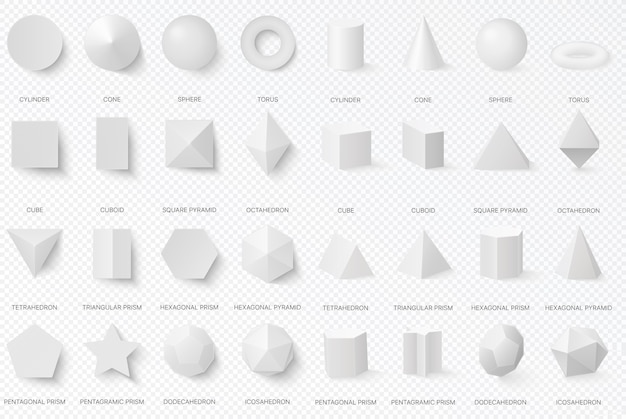 Realistic white basic 3d shapes in top and front view isolated on the alpha transperant background. Premium Vector