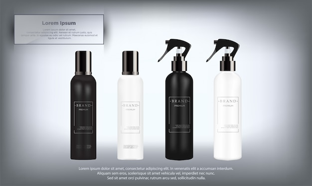 Realistic white and black cosmetic bottles set Premium Vector