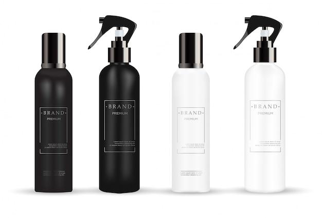 Realistic white and black cosmetic Premium Vector