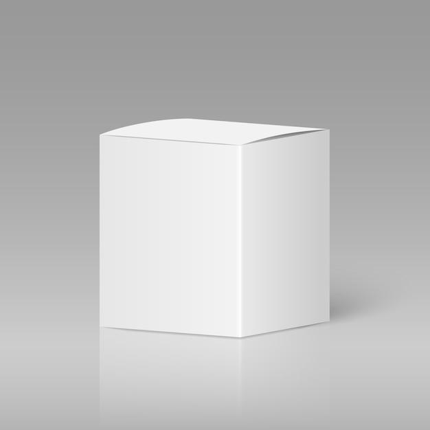 Realistic white blank box Premium Vector
