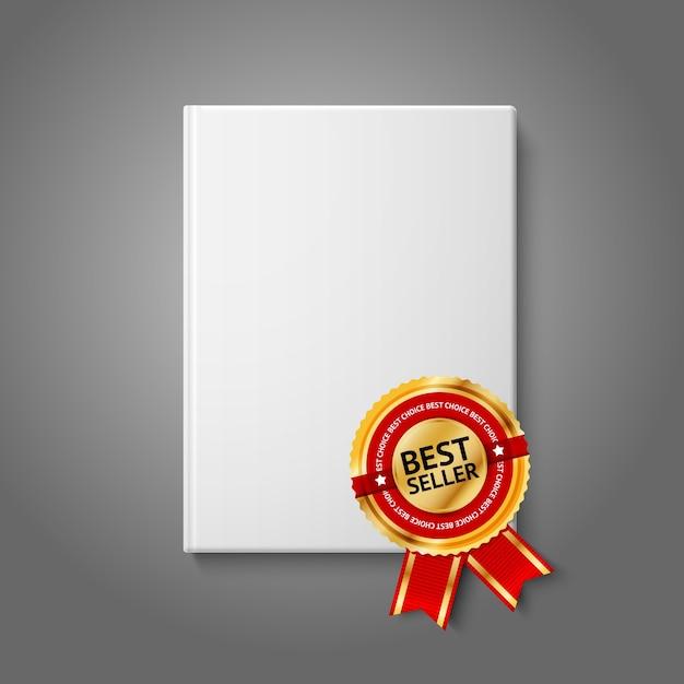 현실적인 흰색 빈 하드 커버 책, 황금과 빨간색 베스트 셀러 레이블이있는 전면보기. 프리미엄 벡터