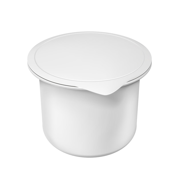 Realistic white blank plastic container for yogurt. illustration isolated Premium Vector