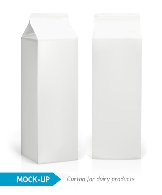 乳製品、ジュース、牛乳用の現実的な白い段ボールパッケージ。パッケージ Premiumベクター
