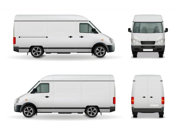 Realistic white cargo van Free Vector