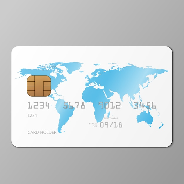 Realistic white credit card mockup template Premium Vector