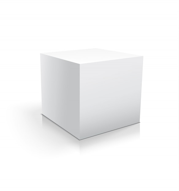 Realistic white cube or box isolated Premium Vector
