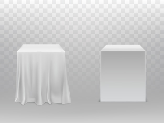 Realistic white cubes, one block covered with silk cloth Free Vector