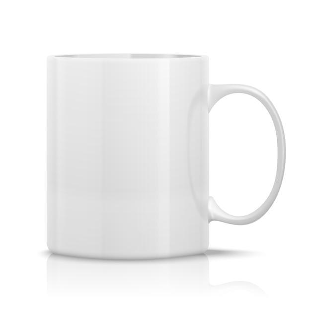 Realistic white cup Free Vector