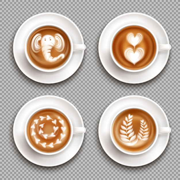 Realistic white cups with latte art images top view on transparent  isolated Free Vector